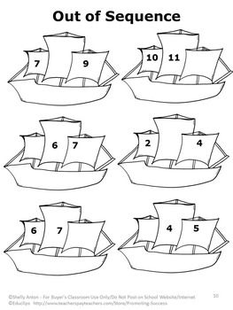 Kindergarten Math Review Packet, Christopher Columbus Day