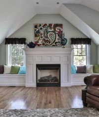 Love the window seats beside the fireplace   Family Room ...