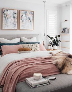 chic modern bedroom with white gray and blush pink color scheme also rh pinterest