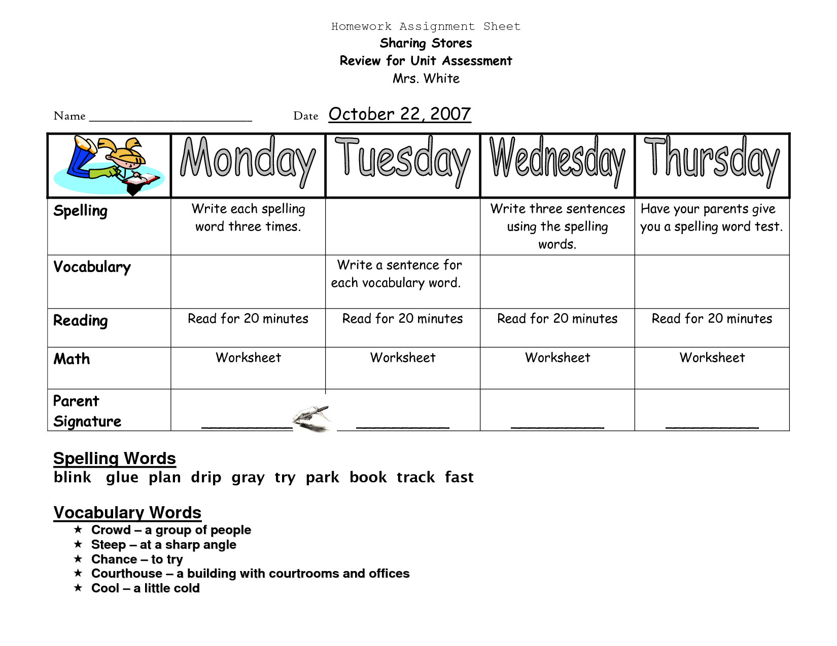 Homework Sheets For Preschoolers