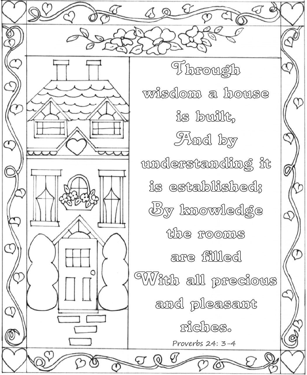 Proverbs 24 3 4 Bible Coloring Page Nkjv