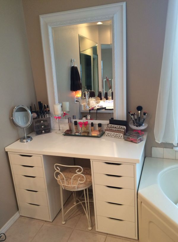 Makeup Vanity-ikea Drawers And Fred Meyer Mirror