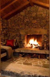 Rustic Cabin Stone Fireplace