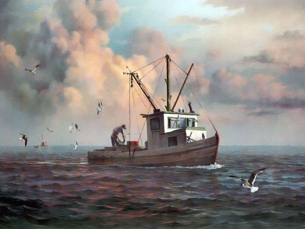 End Of Run Dalhart Windberg Art Sails Seas Ships Boating Paintings And