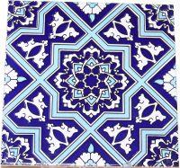 "Blue & White Seljuk Geometric & Floral Design 8""x8 ..."