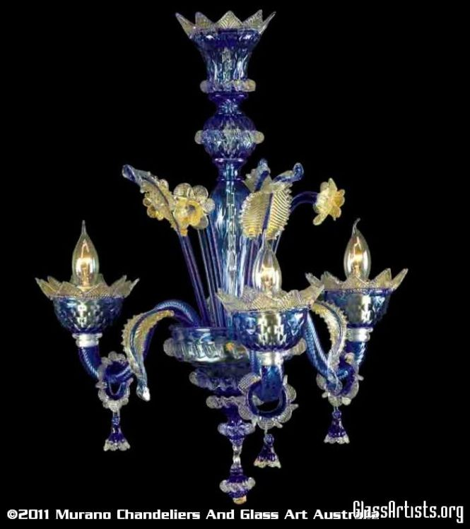 Murano Venetian Chandeliers Art Glass Cobalt Blue And Gold Chandelier