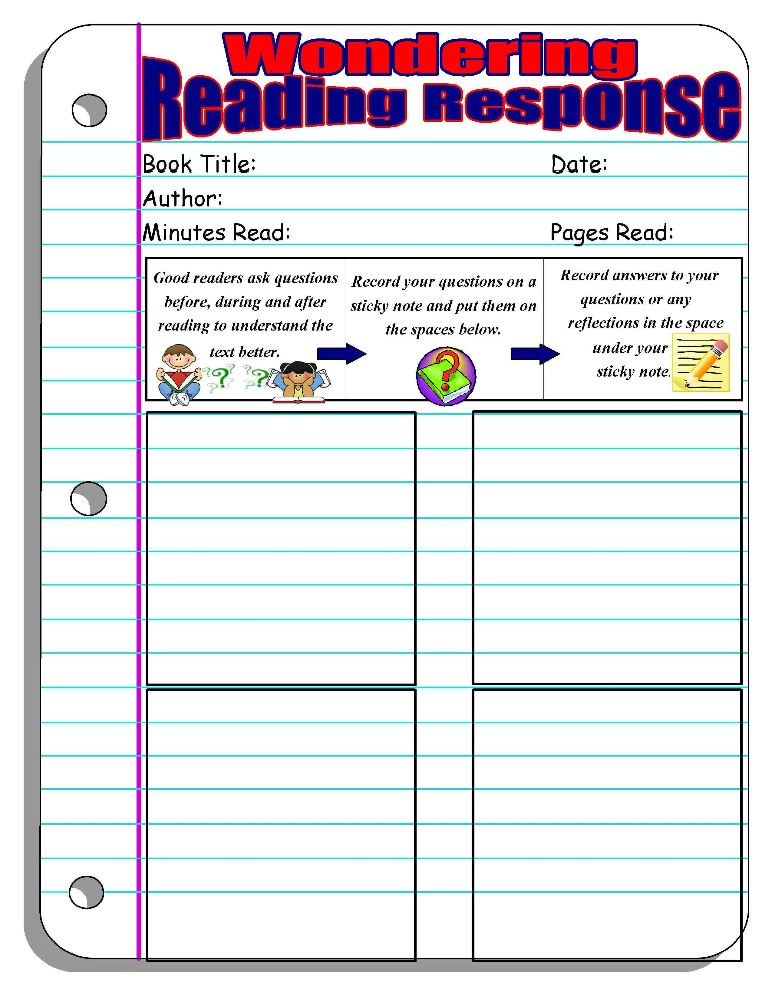 11 Free Reading Response Forms And Graphic Organizers For Independent Reading