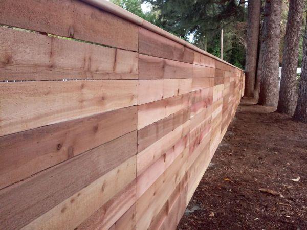 Horizontal Cedar Fence Wood