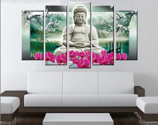 panels buddha wall art modern painting hand made contemporary religion oil cheap home pictures you can get more details also rh pinterest