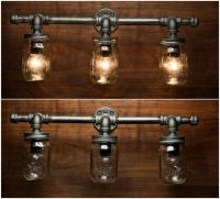 3 Mason Jar Light Pipe Light Vanity Light by ...