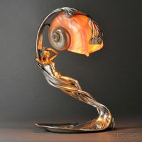 Art Nouveau Figural Table Lamp with Shell Shade