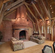 Timber Frame Great Room with Fireplace