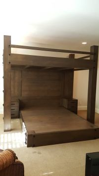 Custom Full XL loft bed over queen platform bed. Features