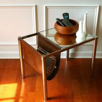 Vintage mirrored sling magazine rack end table | For the ...