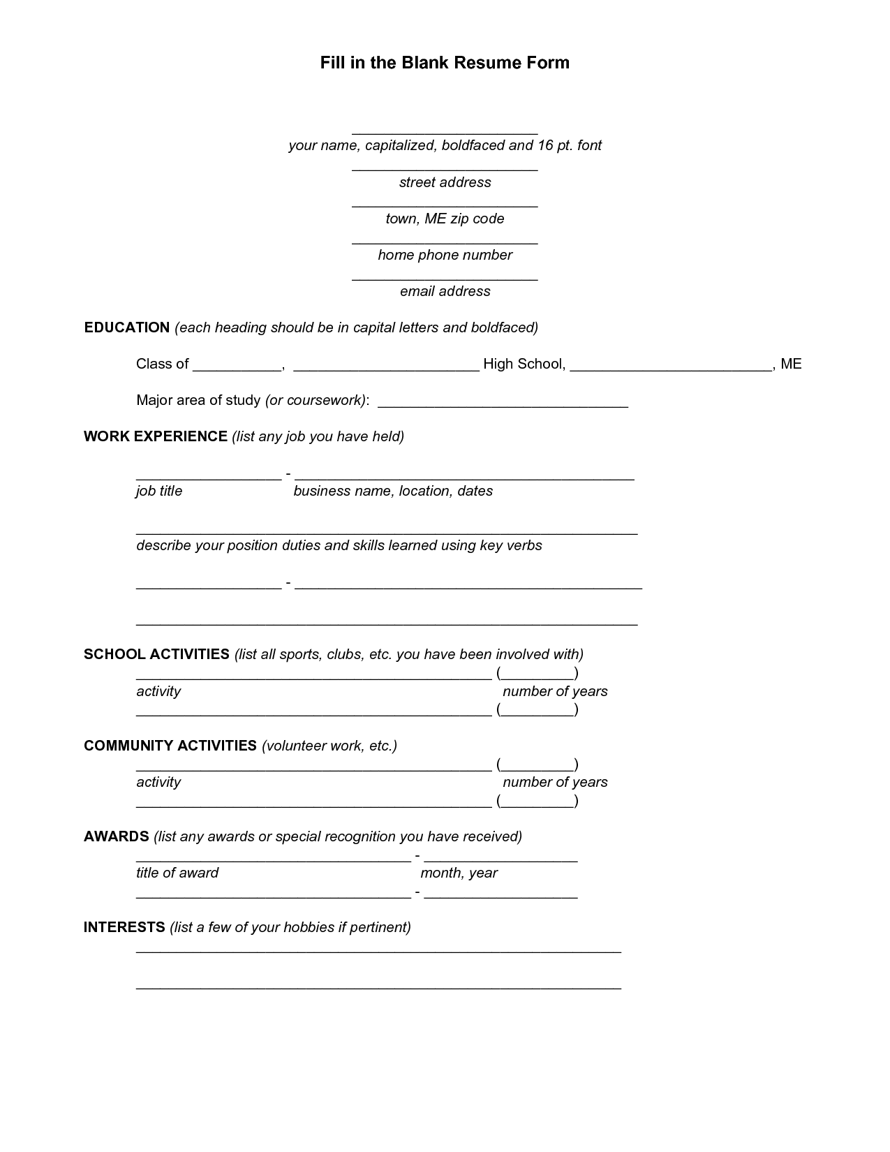 Blank Resume Template For High School Students  httpwwwresumecareerinfoblankresume