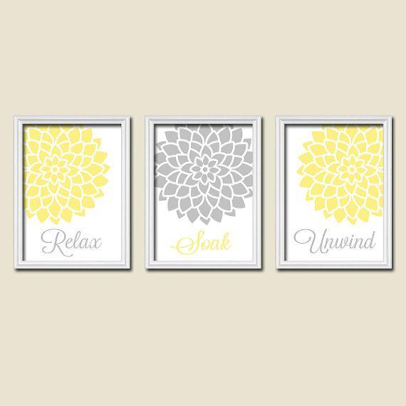 Relax soak unwind yellow grey gray flourish dahlia flower artwork set of bathroom prints wall decor art picture match on etsy apartment also rh pinterest