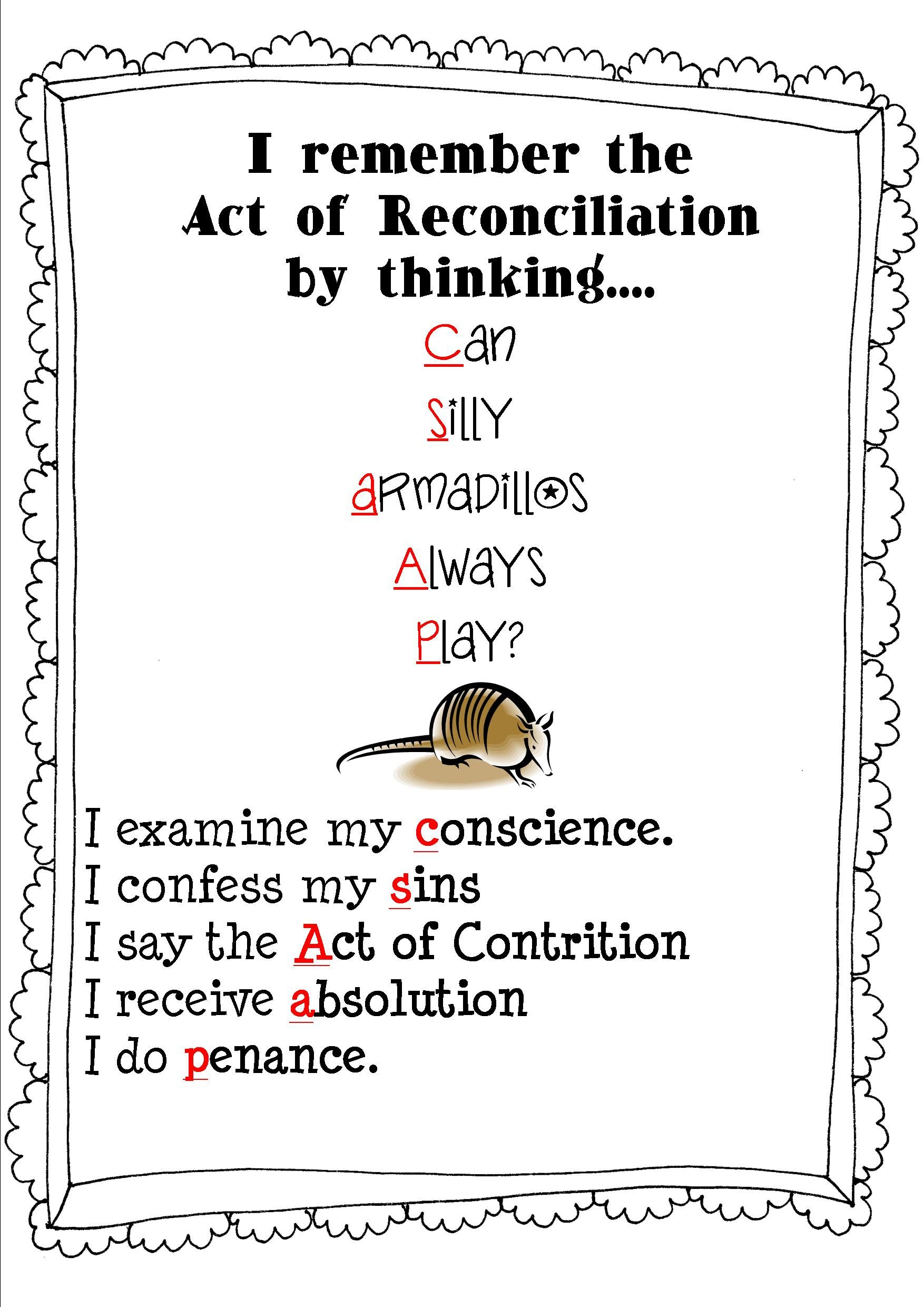 Reconciliation Rhyme For More Fun Activities Click The