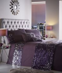 Dazzle Luxury Sequin Sparkle Grey Purple Duvet Cover