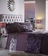 Dazzle Luxury Sequin Sparkle Grey Purple Duvet Cover