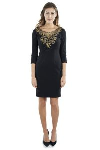Long Sleeve Cocktail Dress with Gold Embellished Neckline