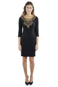 Long Sleeve Cocktail Dress with Gold Embellished Neckline ...