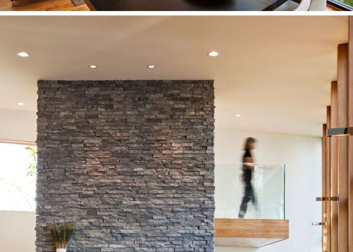 Fire places also this modern wood house was designed for  family to live beside