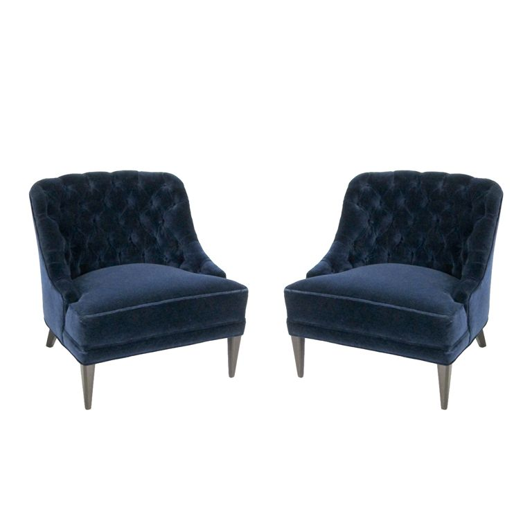 navy blue velvet slipper chair fold up bed pair of tufted back lounge chairs | see best ideas about and ...