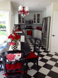 My fun and unique black and white kitchen with red accents ...