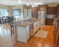 Open Concept Kitchen with Hickory Stained Perimeter ...