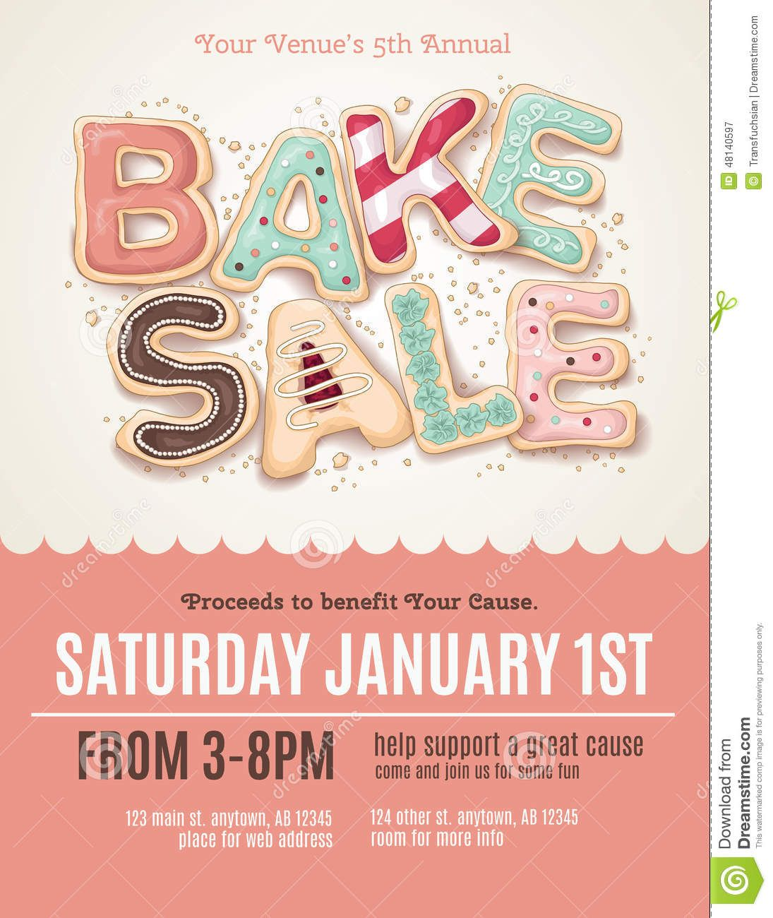 Fun Cookie Bake Sale Flyer Template  Download From Over 56 Million High Quality Stock Photos