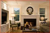 windows flanking fireplace