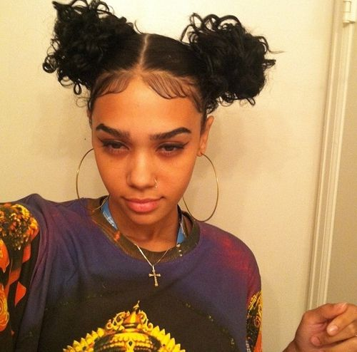 Double Bun Hairstyle Afro Hairstyle Baby Hairs Black Girl