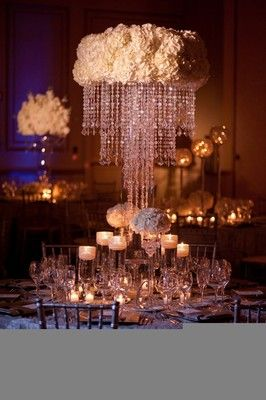 Gorgeous Crystal And Ivory Centerpiece Chandelier Table