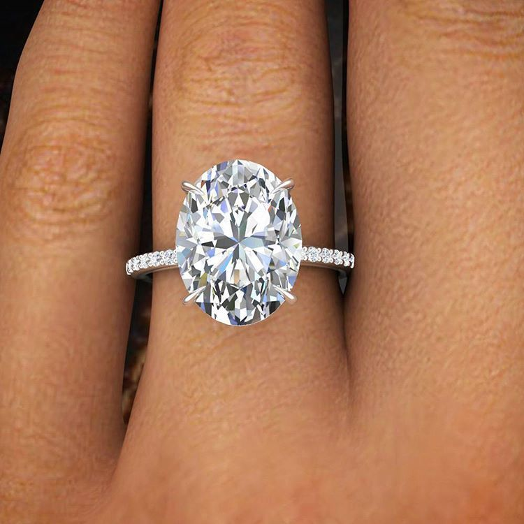 200 Ct Natural Oval Cut Pave Diamond Engagement Ring GIA