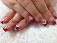 Gel nails, Christmas nails, glitter nails, hand painted ...