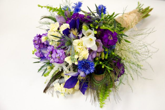 Blue, Purple, Soft Yellow And Cream Wedding Flowers By
