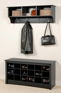 Entryway Wall Mount Coat Rack w Shoe Storage Bench in ...