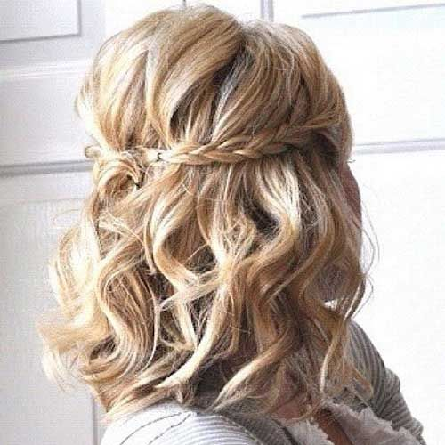 Short Curled Hair With Braid Half Updo Hair Pinterest Result