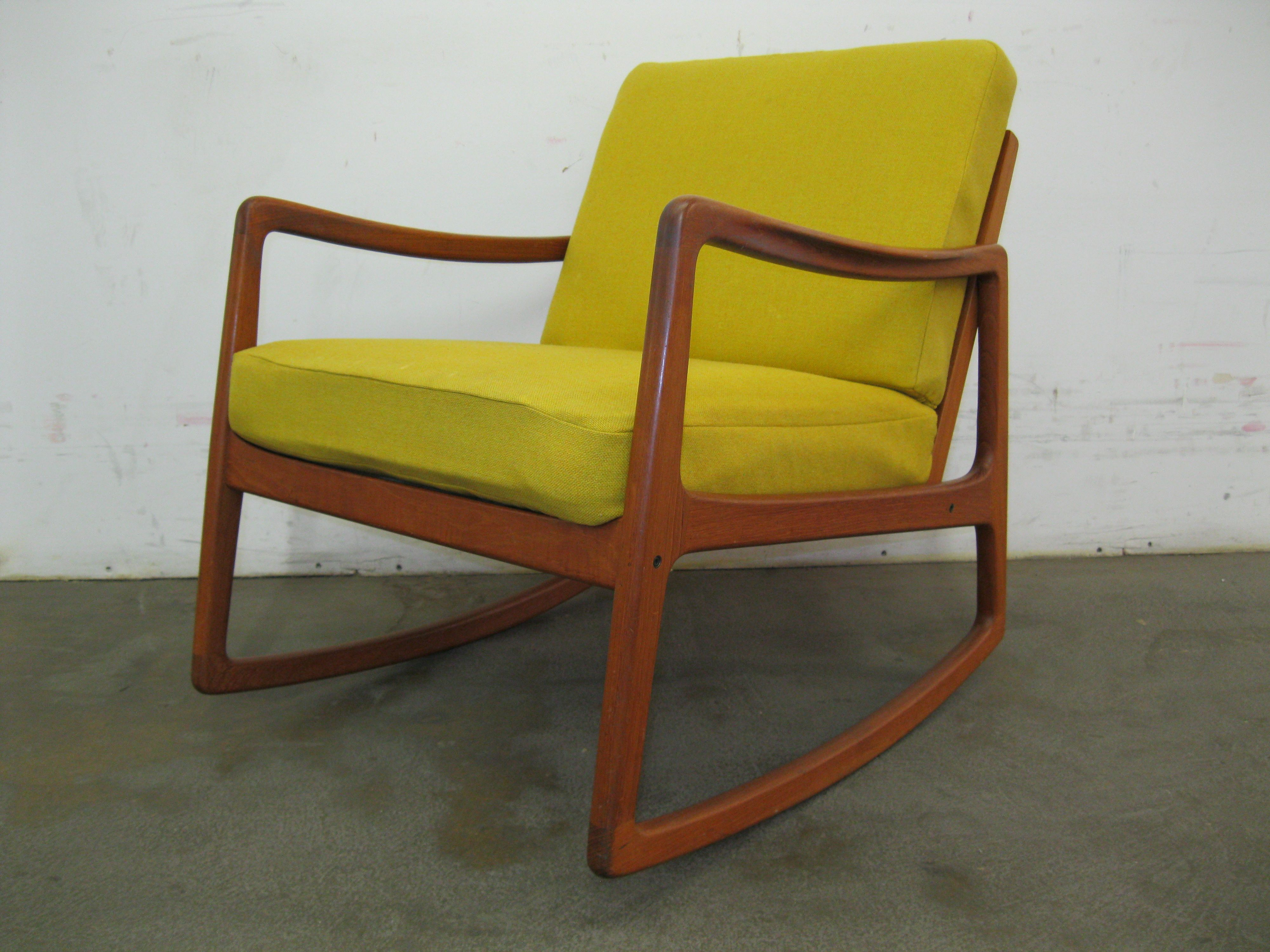 yellow rocking chair high chairs kmart danish teak ole wanscher for france and sons