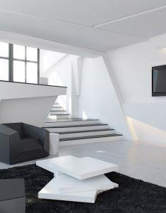 White theme futuristic home interior design ideas geometric wall black and stair sofa unique table fluffy fur also origami deconstruct high tech pinterest rh au