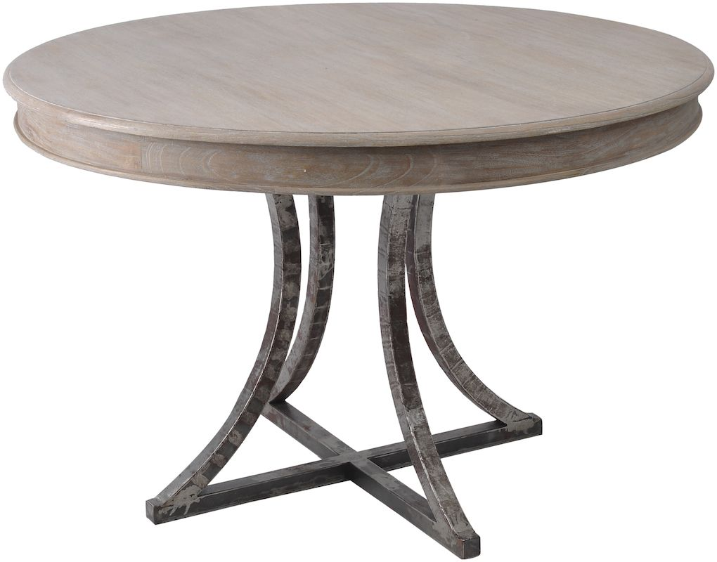 Marseille Wood Metal Round Dining Table  dining room