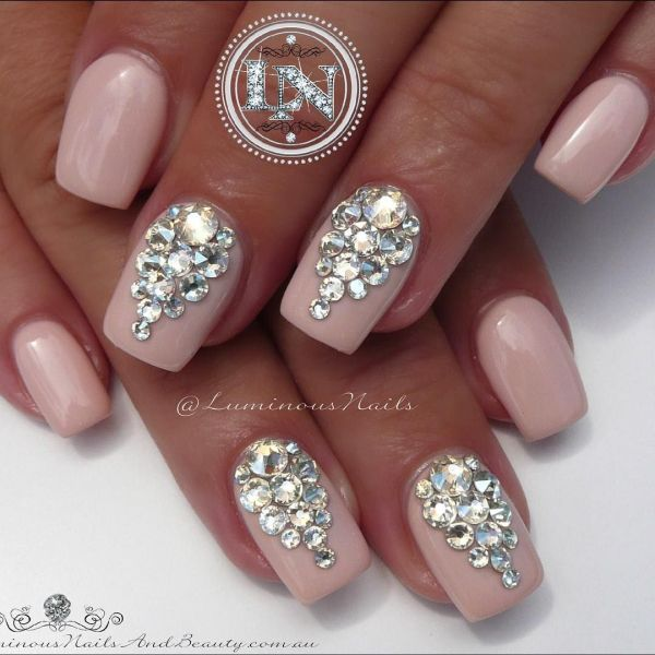 Wedding Nail Designs Rhinestones