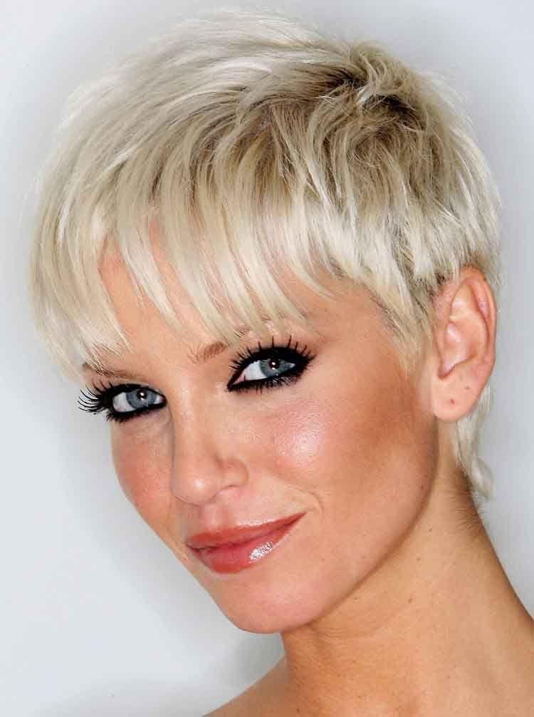 Woman with very short platinum blonde highlights  Hair
