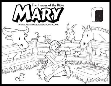 The Heroes of the Bible Coloring Pages: Mary (Luke 2