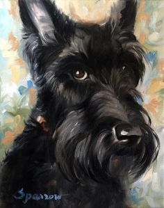 SPARROW Scottish Terrier Scottie Dog Art Painting Floral