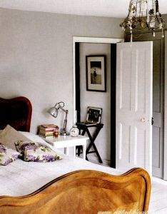 Simple bedstand with books lamp clock  framed picture outside bedroom so also rh in pinterest