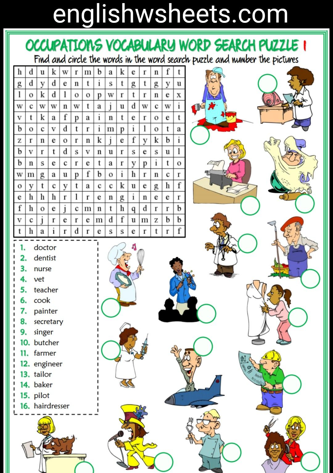 Jobs Esl Printable Word Search Puzzle Worksheets For Kids 5 Sets Jobs Occupations