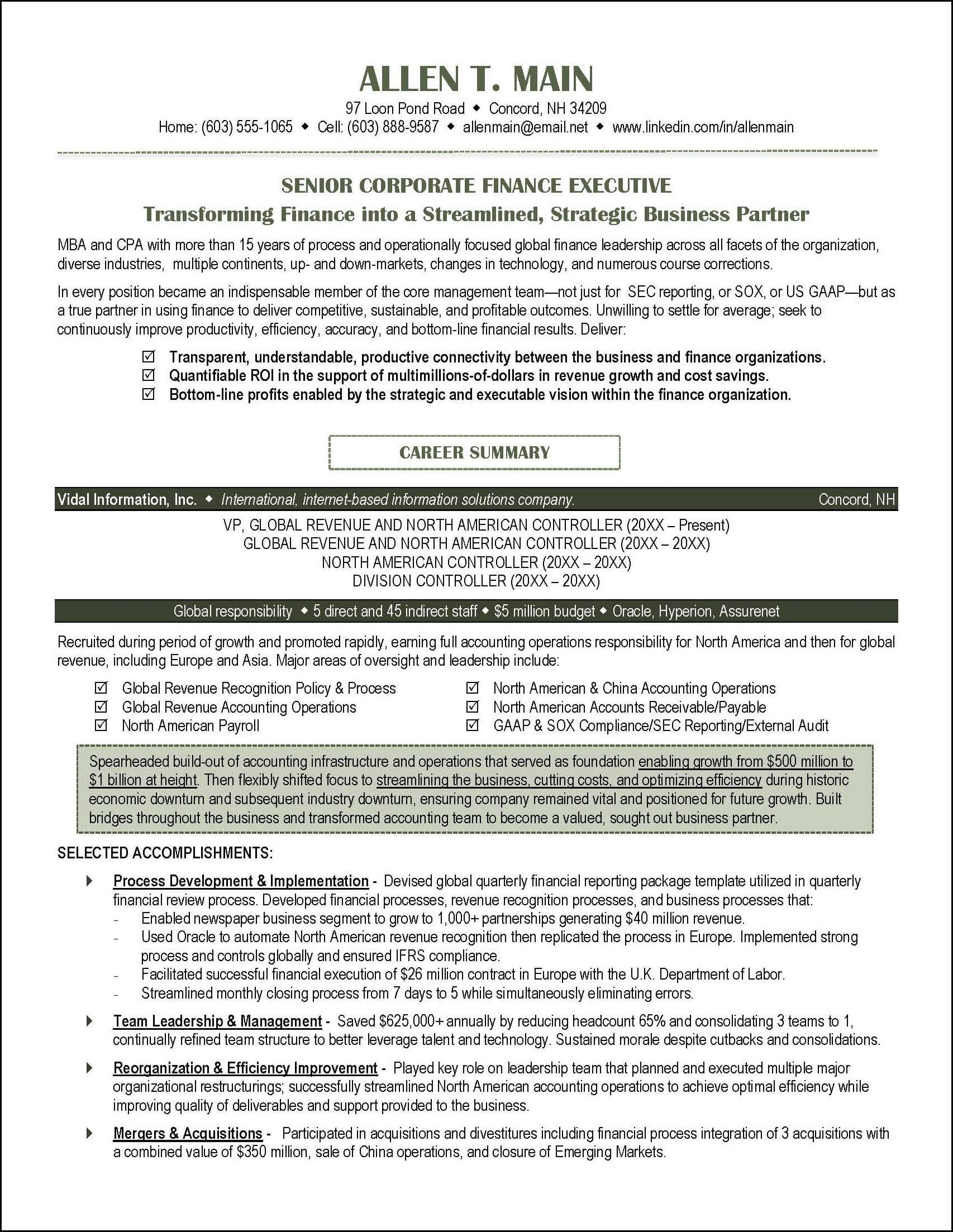 Sample Strategy Resume This Accounting Resume Illustrates A Number Of Resume