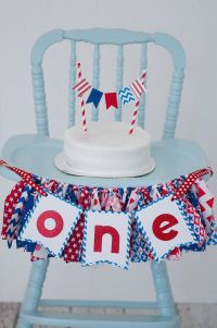 July 4th birthday July 4th cake smash red, white and blue ...