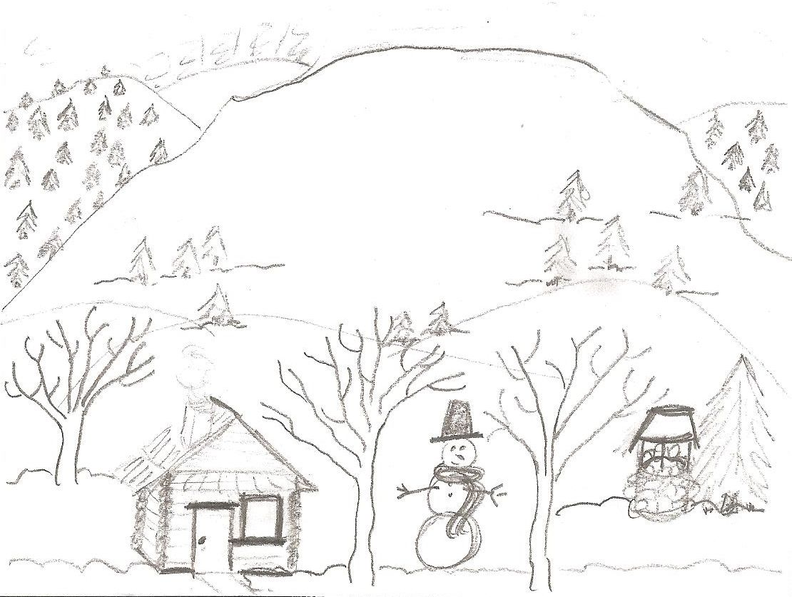 pencil drawing in the computer lab: Cabin in the snow